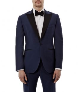 HARDY AMIES Navy Wool MOHAIR Tuxedo Dinner Suit UK40 US40 IT50 C40xW34xL36 BNWT